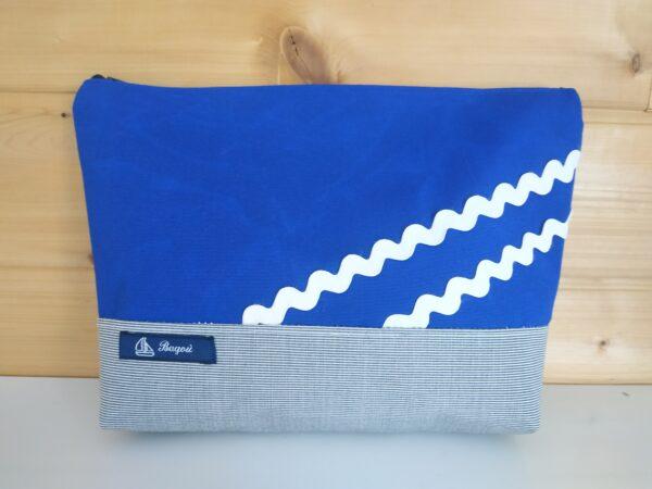 Trousse de toillette gris, bleu, vagues blanches