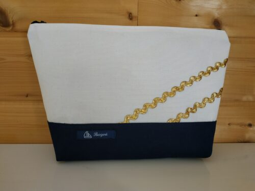 Trousse de toilette-marine-blanc-vagues dorées