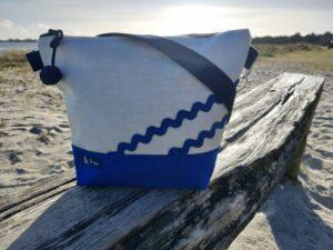 Besace-bleu mer-gris clair-vagues bleues mer