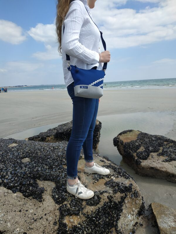 besace-rayé blanc et gris-marine-vagues grises
