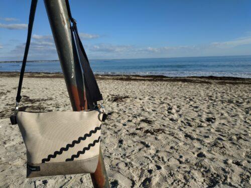 besace rayé sable et noir-sable-vagues noires