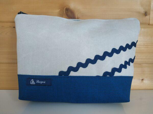 Trousse de toilette-bleu à rayures noires-vagues marines