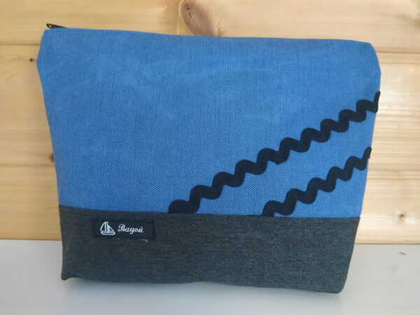 Trousse de toilette-gris-bleu-vagues noires