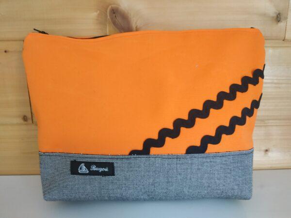 Trousse de toilette-gris à rayures blanches-orange-vagues noires